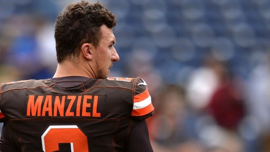 Oct 4, 2015; San Diego, CA, USA; Cleveland Browns quarterback Johnny Manziel (2) looks on before the game against the San Diego Chargers at Qualcomm Stadium. Mandatory Credit: Jake Roth-USA TODAY Sports