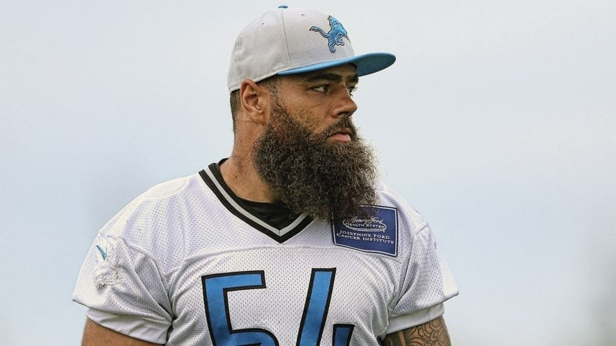 ALLEN PARK, MI - AUGUST 8: DeAndre Levy #54 of the Detroit Lions watches the action during training camp on August 8, 2015 at the Detroit Lions Training Center in Allen Park, Michigan. (Photo by Leon Halip/Getty Images)