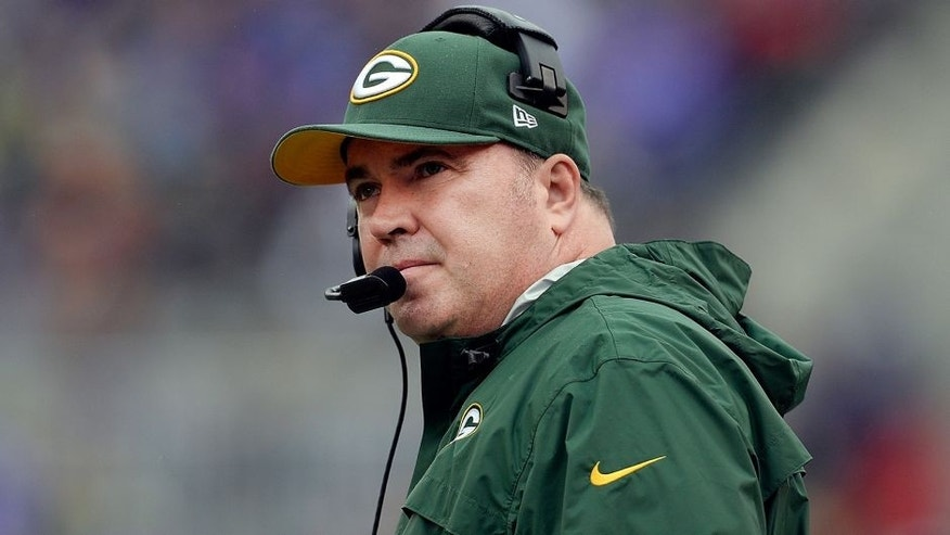 BALTIMORE, MD - OCTOBER 13: Head coach Mike McCarthy of the Green Bay Packers looks on from the sidelines during the first half of a game against the Baltimore Ravens at M&T Bank Stadium on October 13, 2013 in Baltimore, Maryland. (Photo by Patrick McDermott/Getty Images)