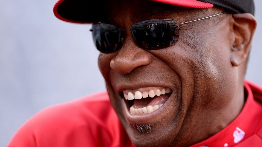 WASHINGTON, DC - APRIL 26: Manager Dusty Baker #12 of the Cincinnati Reds speaks with members of the media before a game against the Washington Nationals at Nationals Park on April 26, 2013 in Washington, DC. (Photo by Patrick McDermott/Getty Images)