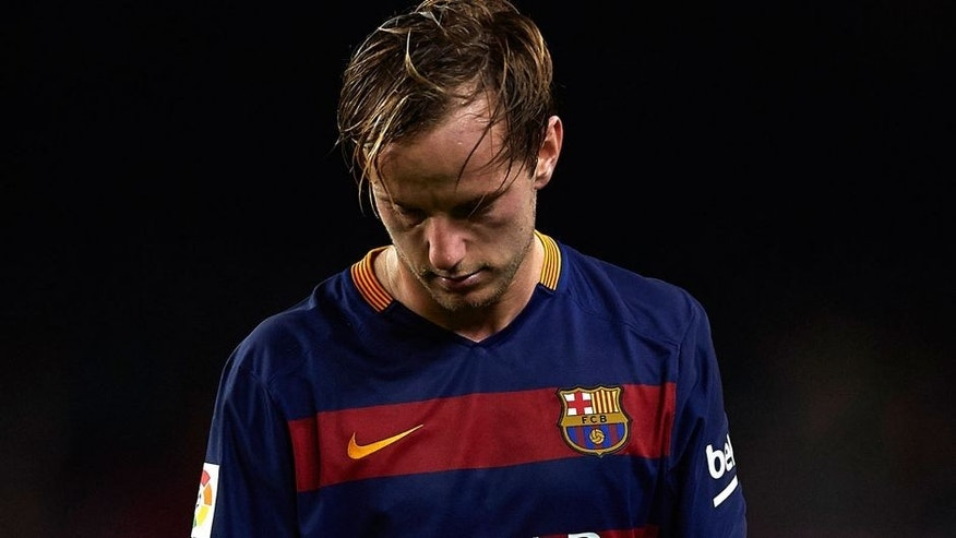 BARCELONA, SPAIN - OCTOBER 25: Ivan Rakitic of Barcelona reacts during the La Liga match between FC Barcelona and SD Eibar at Camp Nou Stadium on October 25, 2015 in Barcelona, Spain. (Photo by Manuel Queimadelos Alonso/Getty Images)