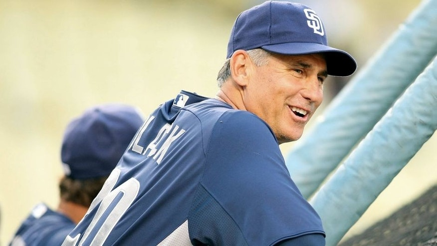 LOS ANGELES, CA - AUGUST 29: Manager Bud Black #20 of the San Diego Padres looks on during batting practice prior to the MLB game against the Los Angeles Dodgers at Dodger Stadium on August 29, 2011 in Los Angeles, California. The Dodgers defeated the Padres 4-1. (Photo by Victor Decolongon/Getty Images)