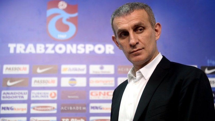 TRABZON, TURKEY - JULY 15: Head of Trabzonspor Ibrahim Haciosmanoglu (on the photo) joins signing ceremony in Trabzon, Turkey on 15 July, 2014. (Photo by Hakan Burak Altunoz/Anadolu Agency/Getty Images)