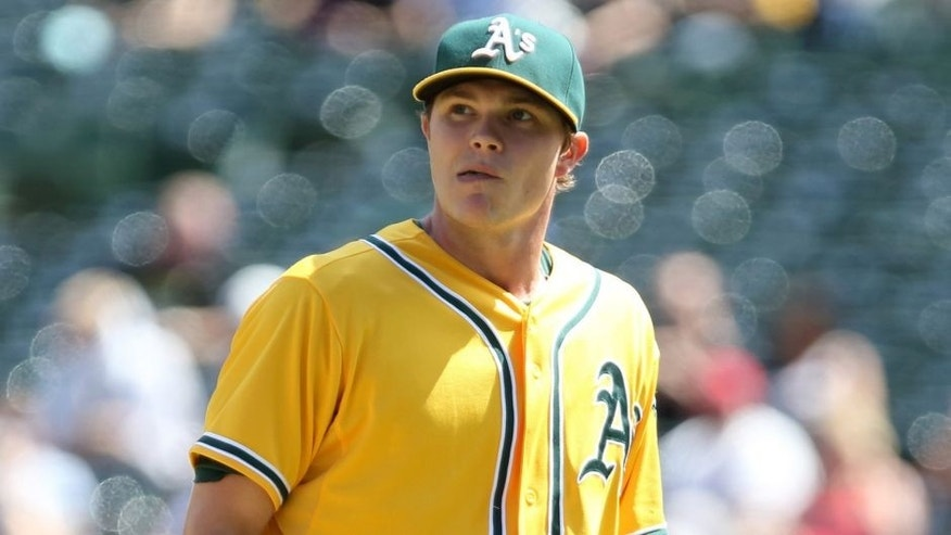 Sep 2, 2015; Oakland, CA, USA; Oakland Athletics starting pitcher Sonny Gray (54) returns to the dugout after the top of the fourth inning against the Los Angeles Angels at O.co Coliseum. Mandatory Credit: Kelley L Cox-USA TODAY Sports