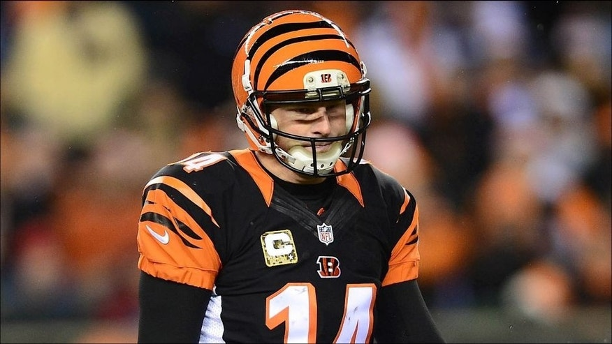 <p>Nov 6, 2014; Cincinnati, OH, USA; Cincinnati Bengals quarterback Andy Dalton (14) reacts after throwing an interception during the third quarter against the Cleveland Browns at Paul Brown Stadium. Mandatory Credit: Andrew Weber-USA TODAY Sports</p>
