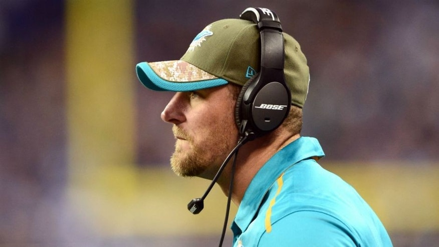<p>Nov 9, 2014; Detroit, MI, USA; Miami Dolphins tight ends coach Dan Campbell against the Detroit Lions at Ford Field. Mandatory Credit: Andrew Weber-USA TODAY Sports</p>