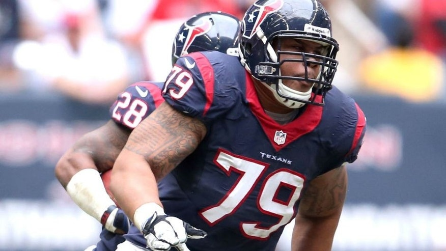 Dec 1, 2013; Houston, TX, USA; Houston Texans guard Brandon Brooks (79) in action against the New England Patriots at Reliant Stadium. Mandatory Credit: Matthew Emmons-USA TODAY Sports
