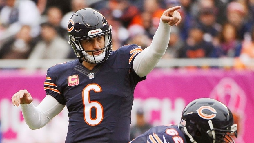 Oct 4, 2015; Chicago, IL, USA; Chicago Bears quarterback Jay Cutler (6) gestures before a snap against the Oakland Raiders during the first quarter at Soldier Field. Mandatory Credit: Matt Marton-USA TODAY Sports