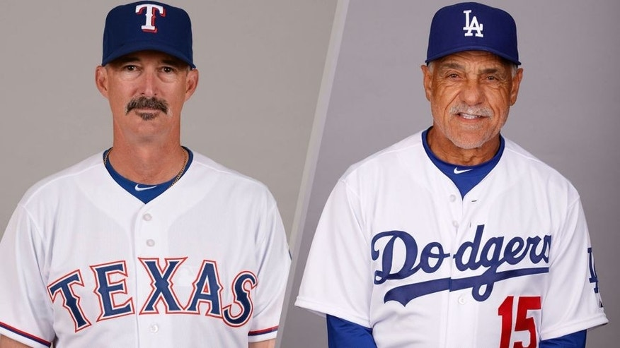 SURPRISE, AZ - MARCH 2: Pitching coach Mike Maddux #31 of the Texas Rangers poses during Photo Day on Monday, March 2, 2015 at Surprise Stadium in Surprise, Arizona. (Photo by Robert Binder/MLB Photos via Getty Images) GLENDALE, AZ - FEBRUARY 28: First Base coach Davey Lopes #15 of the Los Angeles Dodgers poses during Photo Day on Saturday, February 28, 2015 at Camelback Ranch in Glendale, Arizona. (Photo by Jason Wise/MLB Photos via Getty Images)