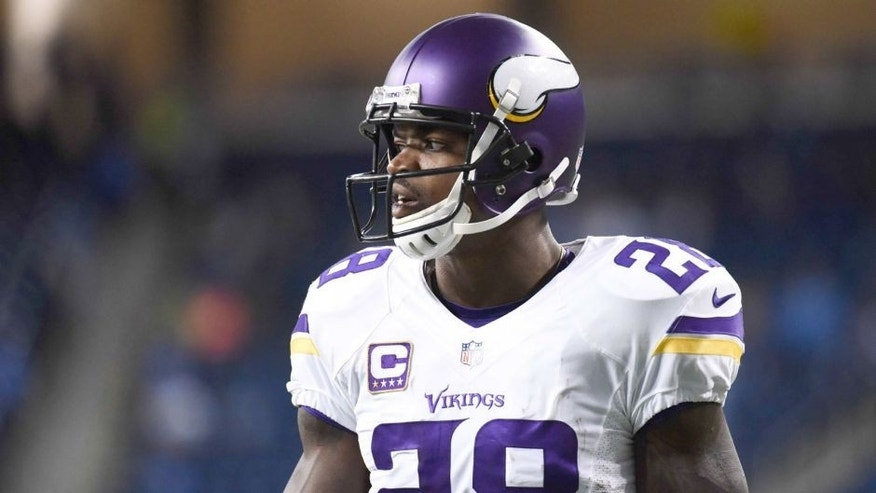 Oct 25, 2015; Detroit, MI, USA; Minnesota Vikings running back Adrian Peterson (28) before the game against the Detroit Lions at Ford Field. Mandatory Credit: Tim Fuller-USA TODAY Sports