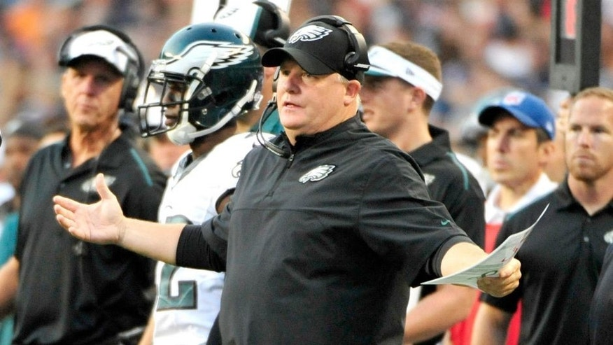 Aug 8, 2014; Chicago, IL, USA; Philadelphia Eagles head coach Chip Kelly in the first quarter of a game against the Chicago Bears during a preseason game at Soldier Field. Mandatory Credit: David Banks-USA TODAY Sports