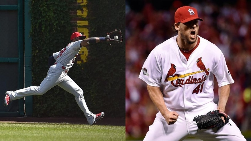 <p>Jason Heyward and John Lackey<br> </p>