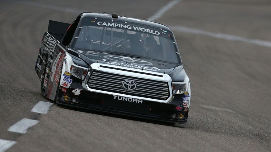 FORT WORTH, TX - NOVEMBER 06: Erik Jones, driver of the #4 Toyota Toyota, drives during Service King qualifying for the NASCAR Camping World Truck Series WinStar World Casino 350 at Texas Motor Speedway on November 6, 2015 in Fort Worth, Texas. (Photo by Sarah Crabill/Getty Images for Texas Motor Speedway)
