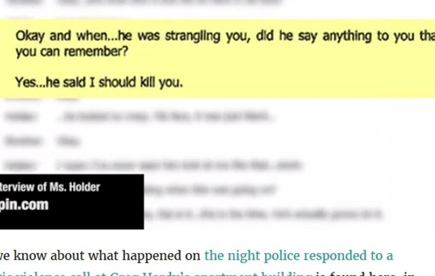 In the police report, the woman describes being thrown around the football player's apartment. (Deadspin.com)