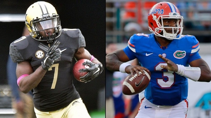 <p>Vanderbilt Commodores running back Ralph Webb (left) and Florida Gators quarterback Treon Harris (right).<br> </p>