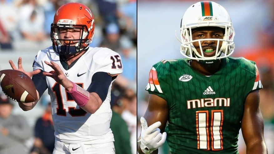 <p>Virginia Cavaliers quarterback Matt Johns (left) and Miami Hurricanes WR Rashawn Scott (right).<br> </p>