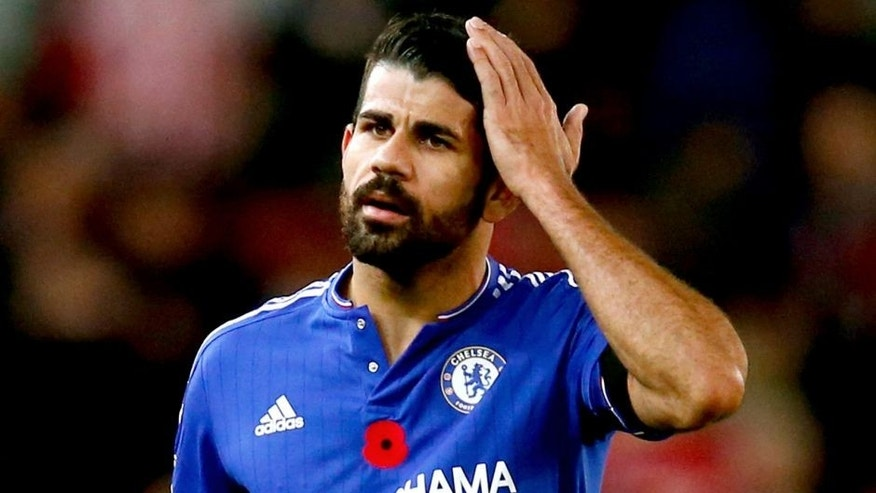 STOKE ON TRENT, ENGLAND - NOVEMBER 07: Diego Costa of Chelsea looks on during the Barclays Premier League match between Stoke City and Chelsea at Britannia Stadium on November 7, 2015 in Stoke on Trent, England. (Photo by Laurence Griffiths/Getty Images)