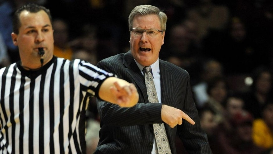 <p>Feb 25, 2014; Minneapolis, MN, USA; Iowa Hawkeyes head coach Fran McCaffery reacts to a call in the first half against the Minnesota Gophers at Williams Arena.  </p>
