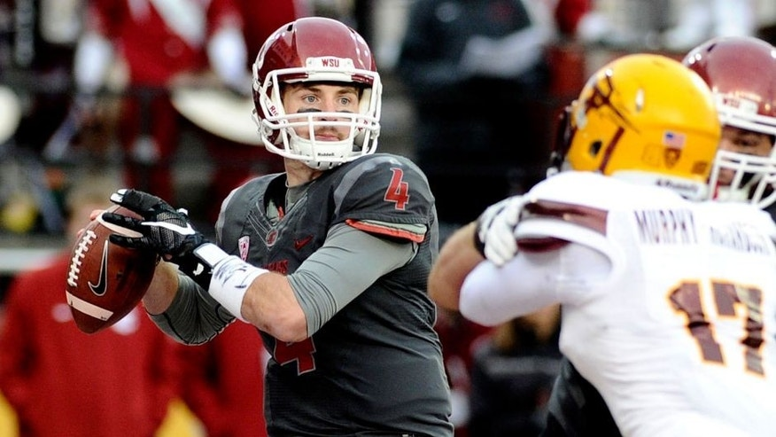 Nov 7, 2015; Pullman, WA, USA; Washington State Cougars quarterback Luke Falk (4) drops back to pass against the Arizona State Sun Devils during the second half at Martin Stadium. The Cougars won 30-24. Mandatory Credit: James Snook-USA TODAY Sports