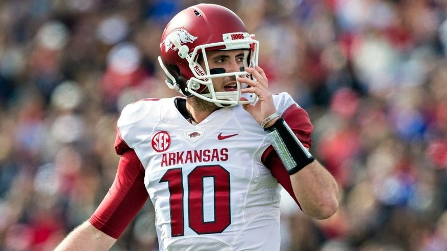 OXFORD, MISSISSIPPI - NOVEMBER 9: Brandon Allen #10 of the Arkansas Razorbacks on the field during a game against the Ole Miss Rebels at Vaught-Hemingway Stadium on November 9, 2013 in Oxford, Mississippi. The Rebels defeated the Razorbacks 34-24. (Photo by Wesley Hitt/Getty Images)