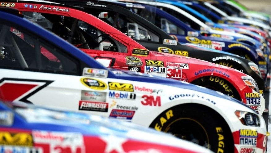 FORT WORTH, TX - NOVEMBER 06: A view of cars lined up prior to Service King qualifying for the NASCAR Sprint Cup Series AAA Texas 500 at Texas Motor Speedway on November 6, 2015 in Fort Worth, Texas. (Photo by Jared C. Tilton/NASCAR via Getty Images)