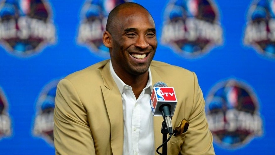 <p> Los Angeles Lakers guard Kobe Bryant speaks during a press conference before the 2014 NBA All-Star Game at the Smoothie King Center. Mandatory Credit: Bob Donnan-USA TODAY Sports</p>