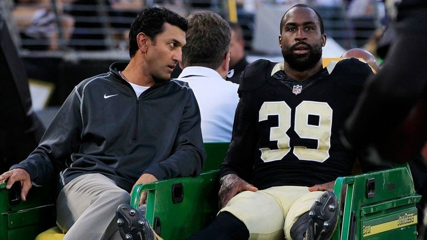 Aug 13, 2015; Baltimore, MD, USA; New Orleans Saints defensive back Brandon Browner (39) is carted off the field after being injured in the first quarter against the Baltimore Ravens in a preseason NFL football game at M&T Bank Stadium. Mandatory Credit: Amber Searls-USA TODAY Sports