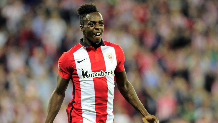 Athletic Bilbao's forward Inaki Williams Arthuer celebrates after scoring during the UEFA Europa League group L football match Athletic Club Bilbao vs FK Partizan at the San Mames stadium in Bilbao on November 5, 2015. AFP PHOTO/ ANDER GILLENEA (Photo credit should read ANDER GILLENEA/AFP/Getty Images)