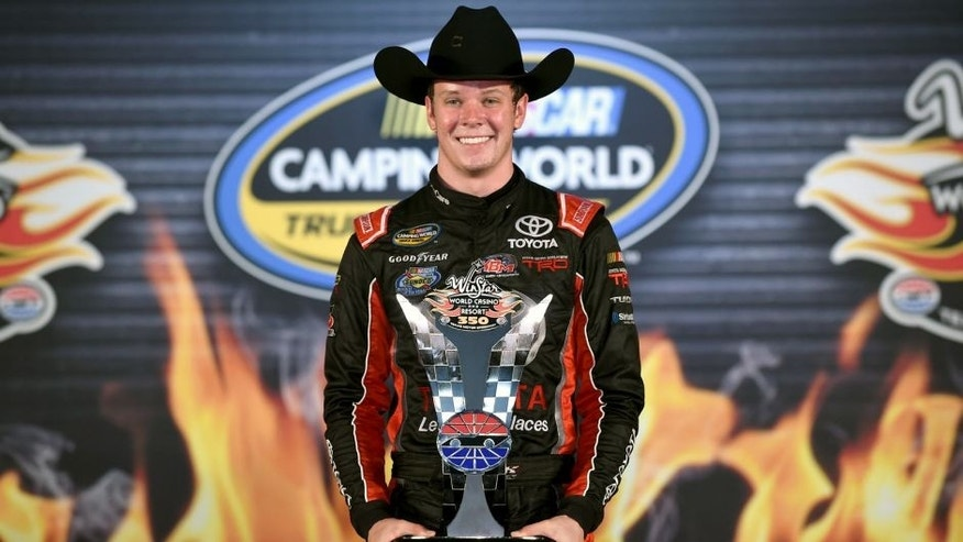 FORT WORTH, TX - NOVEMBER 06: Erik Jones, driver of the #4 Toyota Toyota, celebrates in victory lane after winning the NASCAR Camping World Truck Series WinStar World Casino 350 at Texas Motor Speedway on November 6, 2015 in Fort Worth, Texas. (Photo by Rainier Ehrhardt/NASCAR via Getty Images)