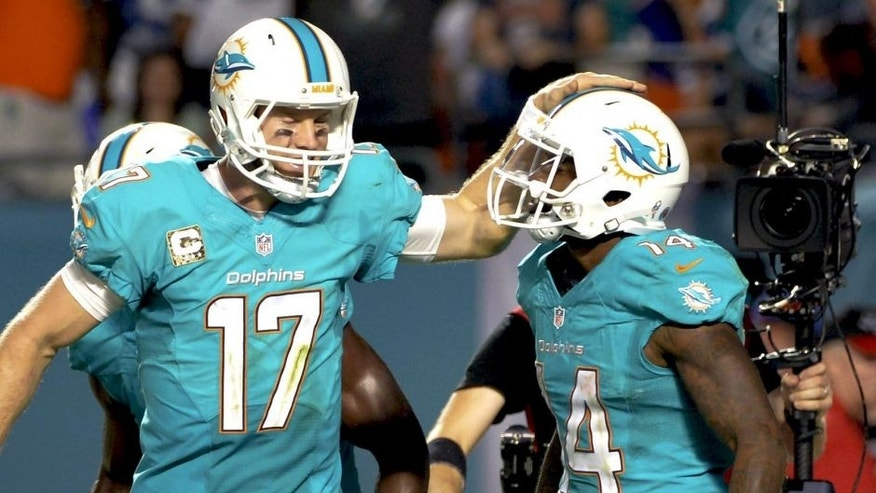 Nov 13, 2014; Miami Gardens, FL, USA; Miami Dolphins quarterback Ryan Tannehill (left) celebrates after wide receiver Jarvis Landry (right) scored a touchdown against the Buffalo Bills during the second half at Sun Life Stadium. The Dolphins won 22-9. Mandatory Credit: Steve Mitchell-USA TODAY Sports