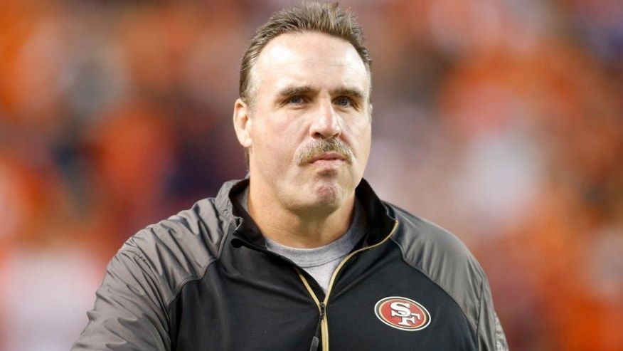 Oct 19, 2014; Denver, CO, USA; San Francisco 49ers defensive line coach Jim Tomsula before the game against the Denver Broncos at Sports Authority Field at Mile High. Mandatory Credit: Chris Humphreys-USA TODAY Sports
