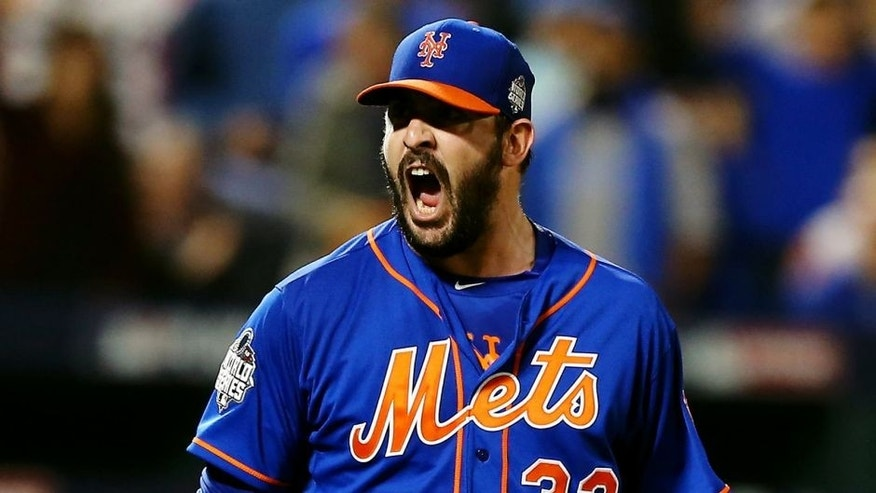 NEW YORK, NY - NOVEMBER 01: Matt Harvey #33 of the New York Mets reacts to striking out the side in the fourth inning against the Kansas City Royals during Game Five of the 2015 World Series at Citi Field on November 1, 2015 in the Flushing neighborhood of the Queens borough of New York City. (Photo by Elsa/Getty Images)