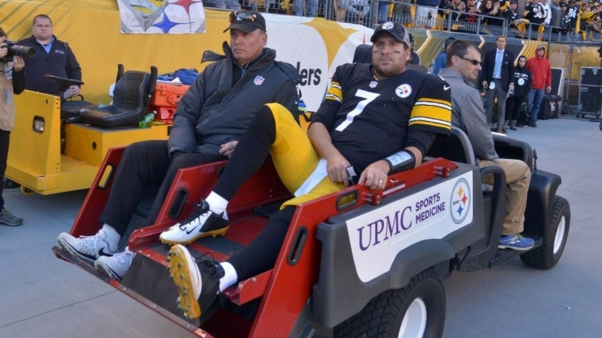 Nov 8, 2015; Pittsburgh, PA, USA; Pittsburgh Steelers quarterback Ben Roethlisberger (7) is taken off the field on a cart with an injury in the fourth quarter a NFL football game against the Oakland Raiders at Heinz Field. Mandatory Credit: Kirby Lee-USA TODAY Sports