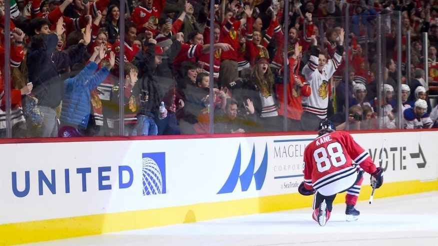 Nov 8, 2015; Chicago, IL, USA; Chicago Blackhawks right wing Patrick Kane (88) reacts after scoring a goal against the Edmonton Oilers during the third period at the United Center. The Chicago Blackhawks defat the Edmonton Oilers 4-2. Mandatory Credit: Mike DiNovo-USA TODAY Sports
