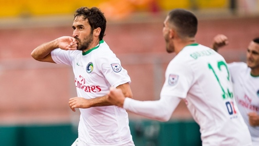 Raúl celebrates scoring the winning goal in the New York Cosmos' 2-1 win over the Fort Lauderdale Strikers. (Photo: New York Cosmos)