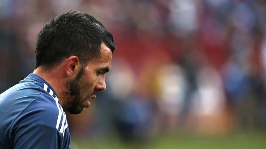 LANDOVER, MD - MARCH 28: Carlos Tevez #23 of Argentina looks on against El Salvador during an International Friendly at FedExField on March 28, 2015 in Landover, Maryland. Argentina won, 2-0. (Photo by Patrick Smith/Getty Images)