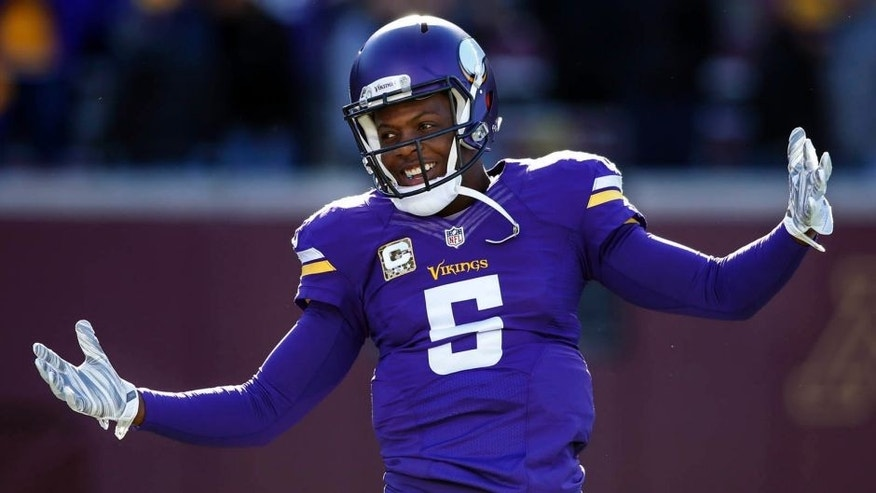 Minnesota Vikings quarterback Teddy Bridgewater laughs as he prepares to play the St. Louis Rams at TCF Bank Stadium on Sunday, Nov. 8, 2015, in Minneapolis.
