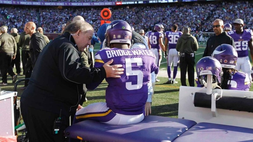 Minnesota Vikings quarterback Teddy Bridgewater is examined during the second half against the St. Louis Rams on Sunday, Nov. 8, 2015, in Minneapolis.