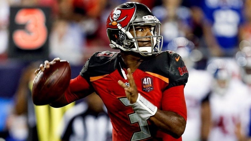 TAMPA, FL - NOVEMBER 8: Quarterback Jameis Winston #3 of the Tampa Bay Buccaneers on a passing play during the game against the New York Giants at Raymond James Stadium on November 8, 2015 in Tampa, Florida. The Giants defeated the Buccaneers 32 to 18. (Photo by Don Juan Moore/Getty Images)
