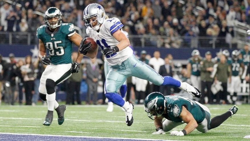 Nov 8, 2015; Arlington, TX, USA; Dallas Cowboys wide receiver Cole Beasley (11) scores a touchdown against Philadelphia Eagles free safety Chris Maragos (42) in the third quarter at AT&T Stadium. Mandatory Credit: Tim Heitman-USA TODAY Sports