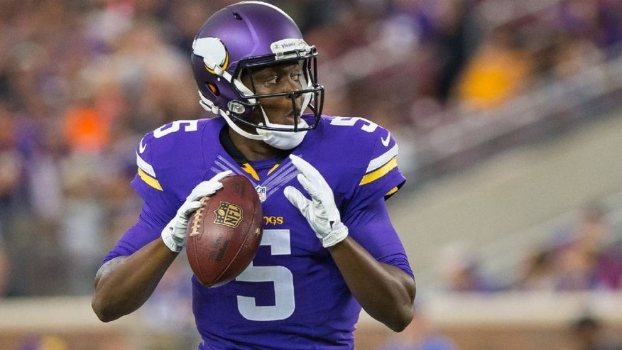 <p>Aug 22, 2015; Minneapolis, MN, USA; Minnesota Vikings quarterback Teddy Bridgewater (5) drops back to pass in the first quarter against the Oakland Raiders at TCF Bank Stadium. Mandatory Credit: Brad Rempel-USA TODAY Sports</p>