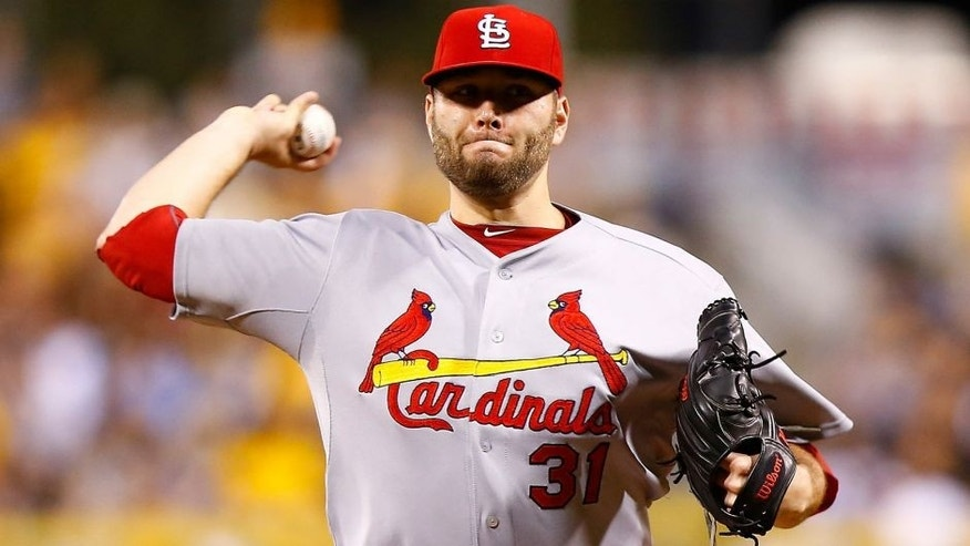 PITTSBURGH, PA - SEPTEMBER 28: Lance Lynn #31 of the St Louis Cardinals pitches in the first inning against the Pittsburgh Pirates during the game at PNC Park on September 28, 2015 in Pittsburgh, Pennsylvania. (Photo by Jared Wickerham/Getty Images)