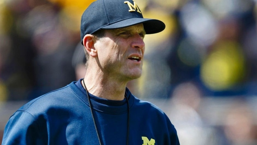 Apr 4, 2015; Ann Arbor, MI, USA; Michigan Wolverines head coach Jim Harbaugh is seen during the Spring football game at Michigan Stadium. Mandatory Credit: Rick Osentoski-USA TODAY Sports