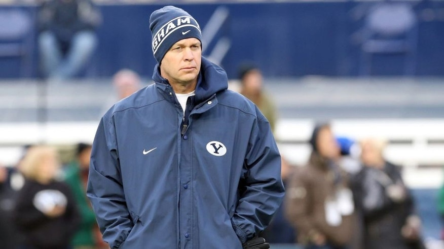 Nov 15, 2014; Provo, UT, USA; Brigham Young Cougars head coach Bronco Mendenhall walks the field before the game against the UNLV Rebels at Lavell Edwards Stadium. Mandatory Credit: Chris Nicoll-USA TODAY Sports
