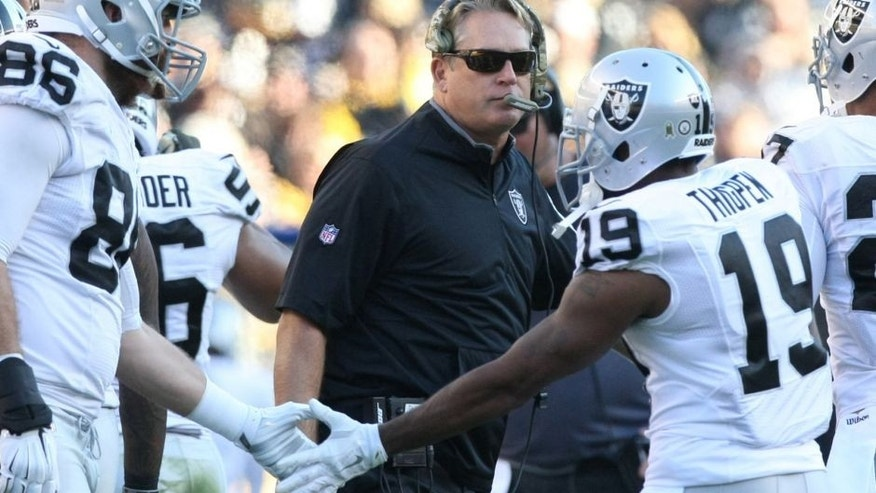 Nov 8, 2015; Pittsburgh, PA, USA; Oakland Raiders head coach Jack Del Rio on the sidelines against the Pittsburgh Steelers during the second half at Heinz Field. The Steelers won the game, 38-35. Mandatory Credit: Jason Bridge-USA TODAY Sports