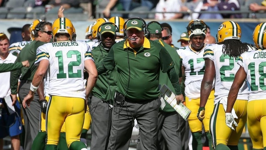CHICAGO, IL - SEPTEMBER 13: Head coach Mike McCarthy of the Green Bay Packers celebrates after the Packers scored against the Chicago Bears in the fourth quarter at Soldier Field on September 13, 2015 in Chicago, Illinois. (Photo by Jonathan Daniel/Getty Images)