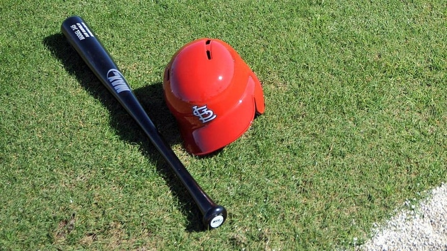 Feb 17, 2014; Jupiter, FL, USA; A detail shot of St. Louis Cardinals batting equipment is seen during spring training at Roger Dean Stadium. Mandatory Credit: Steve Mitchell-USA TODAY Sports