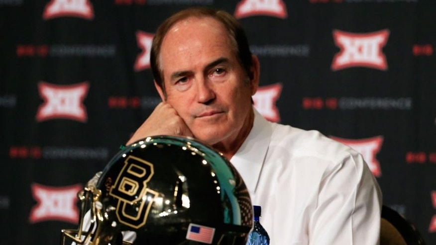 Jul 21, 2015; Dallas, TX, USA; Baylor Bears head coach Art Briles speaks to the media during the Big 12 Media Days at Omni Dallas. Mandatory Credit: Kevin Jairaj-USA TODAY Sports