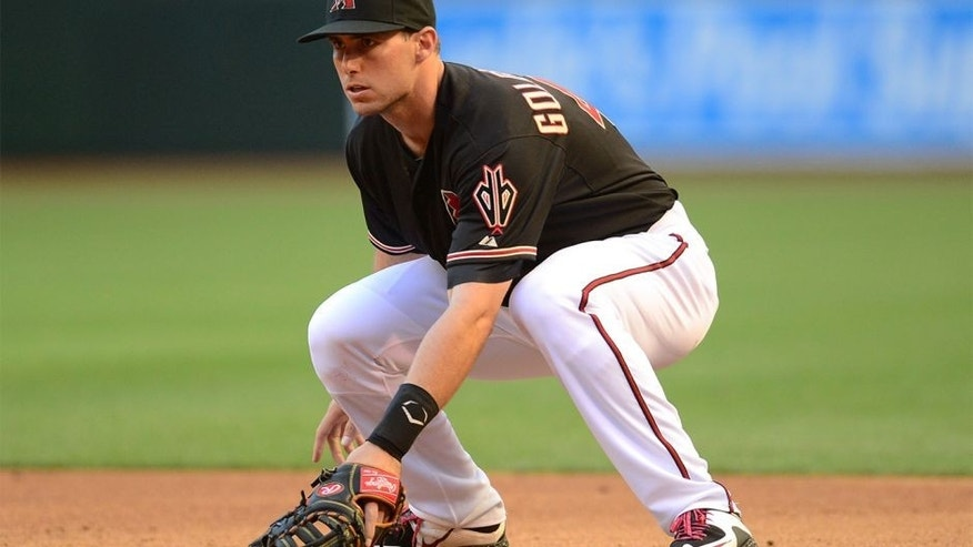 Apr 11, 2015; Phoenix, AZ, USA; Arizona Diamondbacks first baseman Paul Goldschmidt (44) looks on against the Los Angeles Dodgers at Chase Field. The Diamondbacks won 6-0. Mandatory Credit: Joe Camporeale-USA TODAY Sports