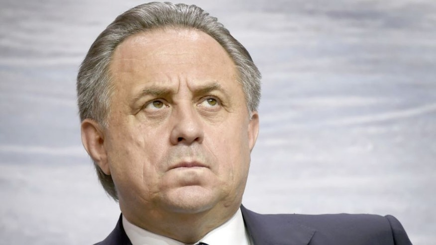 Russian Sports Minister Vitaly Mutko attends the presentation of the new Russia's national ice hockey squad's uniform for the 2016 IIHF Ice Hockey World Championship in Moscow on October 30, 2015. The Championship will be held in Moscow and St. Petersburg on May 6-22. AFP PHOTO / ALEXANDER NEMENOV (Photo credit should read ALEXANDER NEMENOV/AFP/Getty Images)